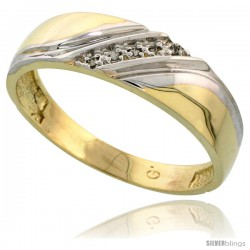 Gold Plated Sterling Silver Mens Diamond Wedding Band, 1/4 in wide -Style Agy110mb