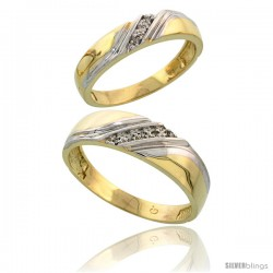 Gold Plated Sterling Silver Diamond 2 Piece Wedding Ring Set His 6mm & Hers 4.5mm