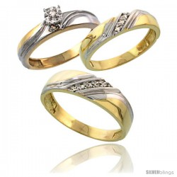 Gold Plated Sterling Silver Diamond Trio Wedding Ring Set His 6mm & Hers 4.5mm