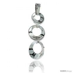 Sterling Silver Dangling Pendant, w/ Graduated Circles, 1 1/8 (28 mm)
