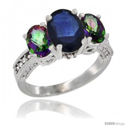 14K White Gold Ladies 3-Stone Oval Natural Blue Sapphire Ring with Mystic Topaz Sides Diamond Accent