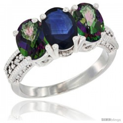 14K White Gold Natural Blue Sapphire & Mystic Topaz Sides Ring 3-Stone 7x5 mm Oval Diamond Accent