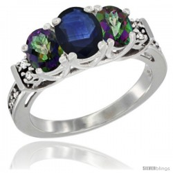 14K White Gold Natural Blue Sapphire & Mystic Topaz Ring 3-Stone Oval with Diamond Accent