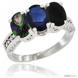 14K White Gold Natural Mystic Topaz, Blue Sapphire & Black Onyx Ring 3-Stone 7x5 mm Oval Diamond Accent