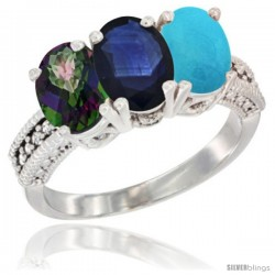 14K White Gold Natural Mystic Topaz, Blue Sapphire & Turquoise Ring 3-Stone 7x5 mm Oval Diamond Accent