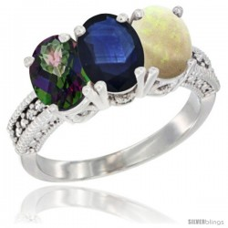 14K White Gold Natural Mystic Topaz, Blue Sapphire & Opal Ring 3-Stone 7x5 mm Oval Diamond Accent