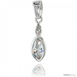 Sterling Silver Marquise shape Cubic Zirconia Drop Pendant, 3/4 (19 mm)