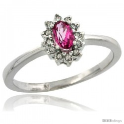 10k White Gold Diamond Halo Pink Topaz Ring 0.25 ct Oval Stone 5x3 mm, 5/16 in wide