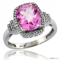 10k White Gold Diamond Halo Pink Topaz Ring 2.4 ct Cushion Cut 9x7 mm, 1/2 in wide