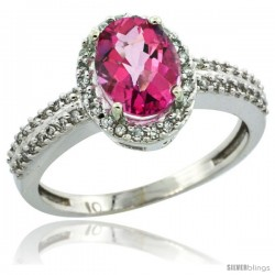 10k White Gold Diamond Halo Pink Topaz Ring 1.2 ct Oval Stone 8x6 mm, 3/8 in wide