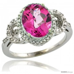 10k White Gold Diamond Halo Pink Topaz Ring 2.4 ct Oval Stone 10x8 mm, 1/2 in wide
