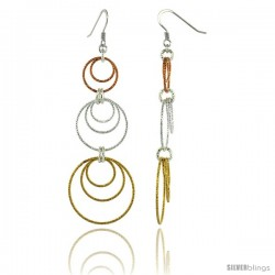 Sterling Silver Tri-Color Diamond Cut Tubing Graduated Dangling Circles Earrings, 3-1/4 in. tall