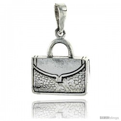 Sterling Silver Briefcase Pendant, 3/4 in (17 mm) tall