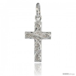 Sterling Silver Cross Pendant w/ Swirls, 3/4 in (18 mm) tall
