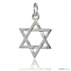 Sterling Silver Star of David Pendant 3/4 in (17 mm) tall