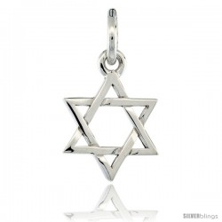 Sterling Silver Star of David Pendant 1/2 in (11.5 mm) tall