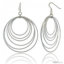 Sterling Silver Diamond Cut Tubing Dangling Circles Earrings, 2-3/4 in. tall