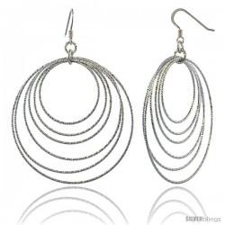 Sterling Silver Diamond Cut Tubing Dangling Circles Earrings, 2-3/4 in. tall