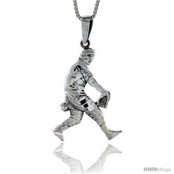Sterling Silver Baseball Pendant, 1 1/2 in tall -Style Pa580