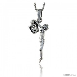 Sterling Silver Basketball Pendant, 1 1/2 in tall