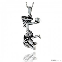 Sterling Silver Slum Dunk Pendant, 1 3/4 in tall