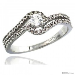 14k White Gold Swirl Solitaire Diamond Engagement Ring w/ 0.34 Carat Brilliant Cut ( H-I Color VS2-SI1 Clarity ) Diamonds