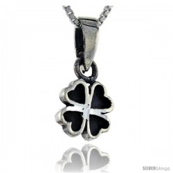 Sterling Silver 4-Leaf Clover Pendant, 3/4 in tall -Style Pa58