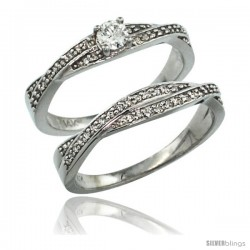 14k White Gold 2-Pc Diamond Engagment Ring Set w/ 0.36 Carat Brilliant Cut ( H-I Color VS2-SI1 Clarity ) Diamonds, 1/4 in