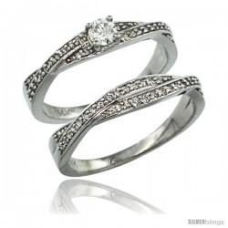 14k White Gold 2-Pc Diamond Engagment Ring Set w/ 0.36 Carat Brilliant Cut ( H-I Color VS2-SI1 Clarity ) Diamonds, 1/4 in