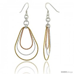 Sterling Silver Tri-Color Diamond Cut Tubing Dangling Teardrops Earrings, 2-1/4 in. tall