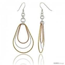 Sterling Silver Tri-Color Diamond Cut Tubing Dangling Teardrops Earrings, 2-1/4 in. tall