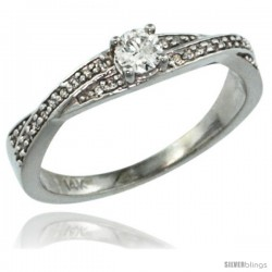 14k White Gold Diamond Engagment Ring w/ 0.26 Carat Brilliant Cut ( H-I Color VS2-SI1 Clarity ) Diamonds, 1/8 in. (3.5mm) wide