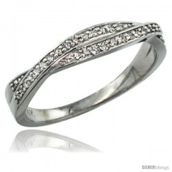 14k White Gold 3mm Diamond Ring Band w/ 0.10 Carat Brilliant Cut ( H-I Color VS2-SI1 Clarity ) Diamonds, 1/8 in. (3.5mm) wide