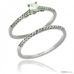 14k White Gold 2-Pc Diamond Engagement Ring Set w/ 0.30 Carat Brilliant Cut ( H-I Color VS2-SI1 Clarity ) Diamonds, 1/8 in
