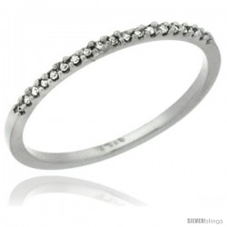 14k White Gold 1mm Diamond Ring Band w/ 0.13 Carat Brilliant Cut ( H-I Color VS2-SI1 Clarity ) Diamonds