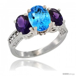 14K White Gold Ladies 3-Stone Oval Natural Swiss Blue Topaz Ring with Amethyst Sides Diamond Accent