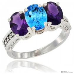 14K White Gold Natural Swiss Blue Topaz & Amethyst Ring 3-Stone 7x5 mm Oval Diamond Accent