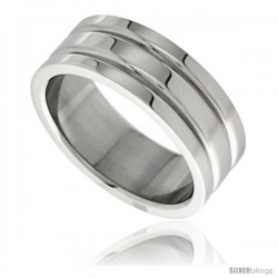Surgical Steel 8mm Wedding Band Ring 2 Grooves High Polish