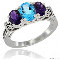 14K White Gold Natural Swiss Blue Topaz & Amethyst Ring 3-Stone Oval with Diamond Accent
