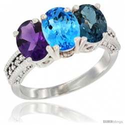 14K White Gold Natural Amethyst, Swiss Blue Topaz & London Blue Topaz Ring 3-Stone 7x5 mm Oval Diamond Accent
