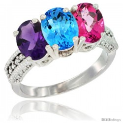 14K White Gold Natural Amethyst, Swiss Blue Topaz & Pink Topaz Ring 3-Stone 7x5 mm Oval Diamond Accent