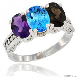 14K White Gold Natural Amethyst, Swiss Blue Topaz & Smoky Topaz Ring 3-Stone 7x5 mm Oval Diamond Accent