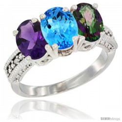 14K White Gold Natural Amethyst, Swiss Blue Topaz & Mystic Topaz Ring 3-Stone 7x5 mm Oval Diamond Accent