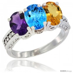 14K White Gold Natural Amethyst, Swiss Blue Topaz & Citrine Ring 3-Stone 7x5 mm Oval Diamond Accent