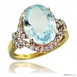 14k Gold Natural Aquamarine Ring Oval 14x10 Diamond Halo, 3/4 in wide