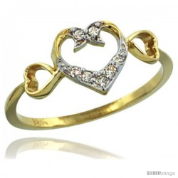 14k Gold Triple Cut Out Heart Diamond Engagement Ring w/ 0.06 Carat Brilliant Cut Diamonds, 11/32 in. (9mm) wide