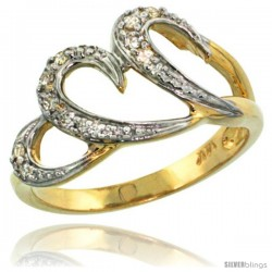 14k Gold Triple Swirl Diamond Engagement Ring w/ 0.13 Carat Brilliant Cut Diamonds, 7/16 in. (11mm) wide