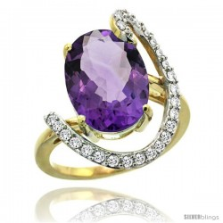 14k Gold Natural Amethyst Ring Oval 14x10 Diamond Accent, 3/4inch wide