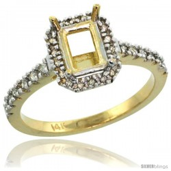 14k Gold Semi Mount (for 7x5 Emerald Cut Stone) Engagement Ring w/ 0.21 Carat Brilliant Cut (H-I Color SI1 Clarity) Diamonds