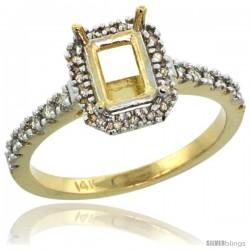 14k Gold Semi Mount (for 7x5 Emerald Cut Stone) Engagement Ring w/ 0.21 Carat Brilliant Cut (H-I Color SI1 Clarity) Diamonds